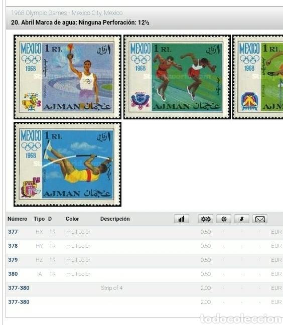 Sellos: Sello Ajman (E.A.U) mtdos/1968/juegos/olimpiada/Mexico/deporte/atletas/carreras/salto/gimnasia/anto/ - Foto 2 - 262450460