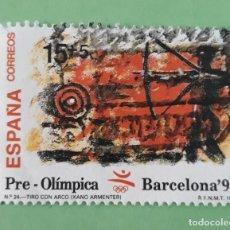 Sellos: SELLO DE ESPAÑA AÑO 1992. EDIFIL 3157. PRE-OLIMPICA. TIRO CON ARCO. USADO.. Lote 265126894