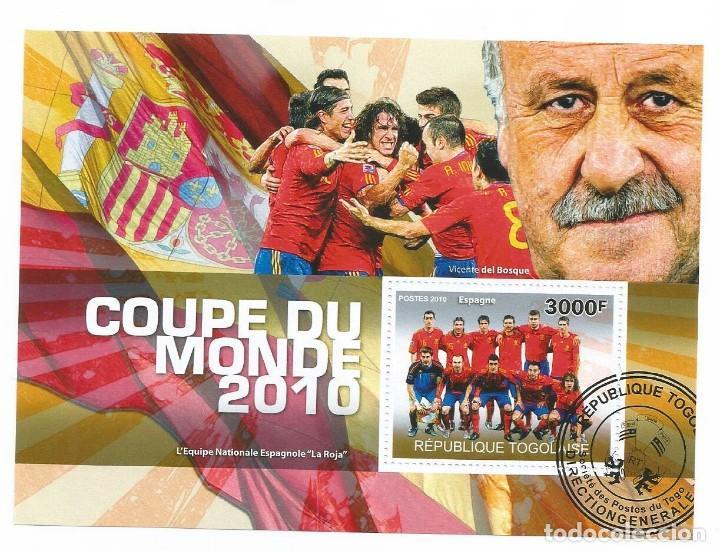 HOJA BLOQUE DE TOGO CAMPEONATO DEL MUNDO DE FUTBOL 2010 CAMPEON ESPAÑA (Sellos - Temáticas - Deportes)