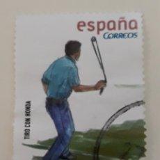 Sellos: SELLO DE ESPAÑA AÑO 2008. EDIFIL 4416. DEPORTES. TIRO CON HONDA. USADO.. Lote 266077163