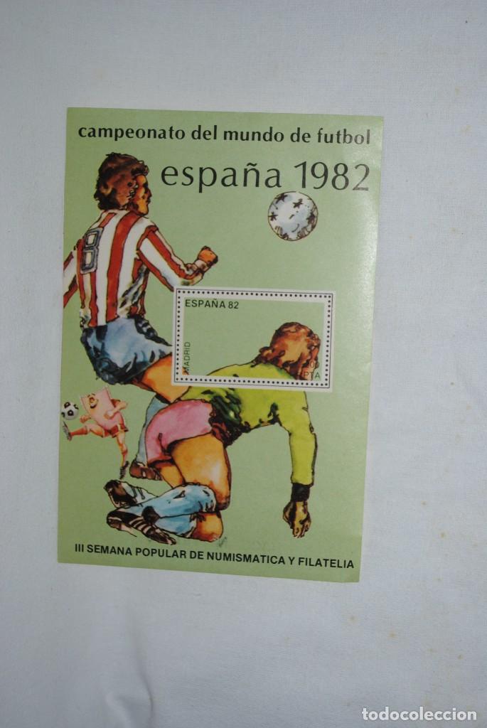 FUTBOL , ESPAÑA 1982 , HOJA CON SELLO . (Sellos - Temáticas - Deportes)