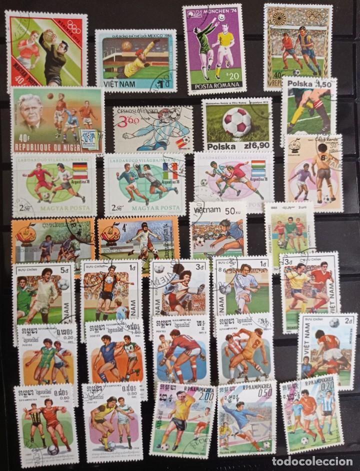 Sellos: Filatelia Temática Deportes Futbol, 100 Sellos en su mayor parte de gran formato y una HB - Foto 2 - 269572558