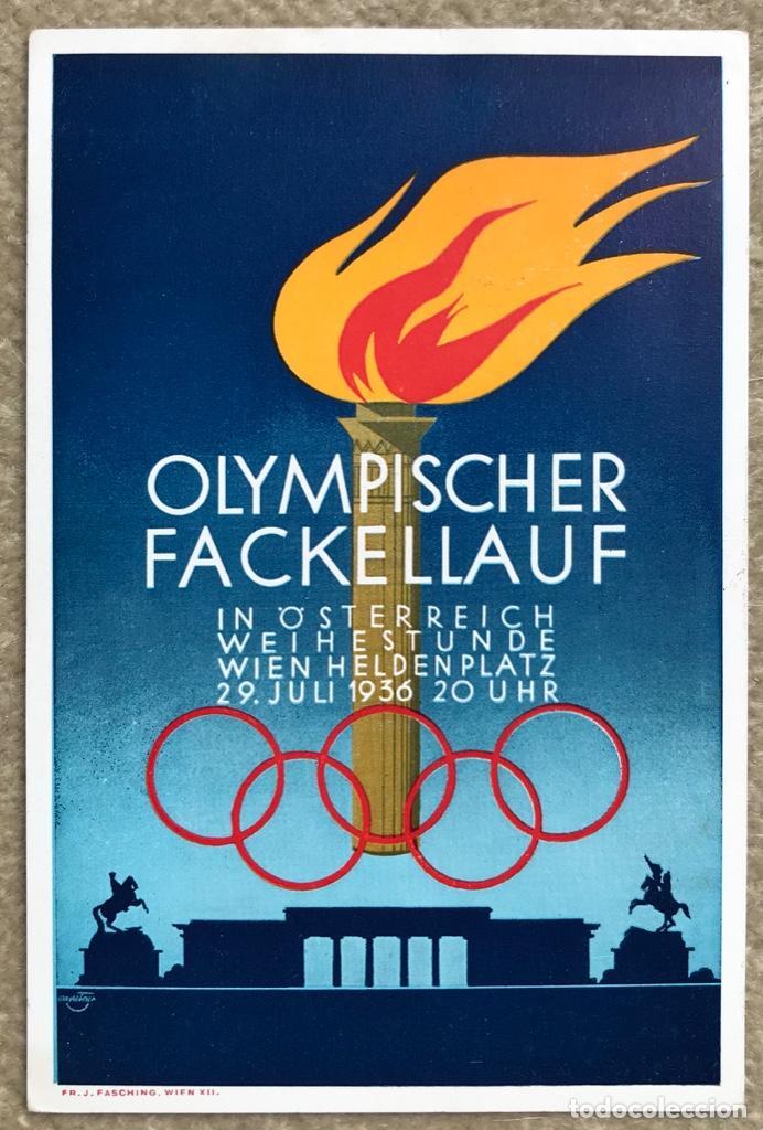 TARJETA DE AUSTRIA CONMEMORATIVA DE LA OLIMPIADA DE BERLÍN 1936 - MATASELLO CONMEMORATIVO - VIENA (Sellos - Temáticas - Deportes)