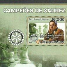 Timbres: S. TOME Y PRINCIPE 2008 HOJA BLOQUE SELLO CAMPEONES AJEDREZ- KASPAROV. Lote 276129078