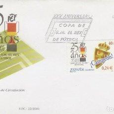 Sellos: EDIFIL Nº 3805, 25 ANIVERSARIO DE LA COPA DEL REY DE FUTBOL. EL ZARAGOZA CAMPEON PRIMER DIA 6-7-2001. Lote 277044338