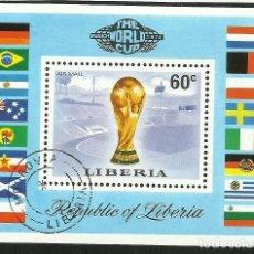 Sellos: LIBERIA 1974 HOJA BLOQUE SELLOS MUNDIAL DE FUTBOL ALEMANIA 74 - FIFA. Lote 277054333