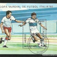Sellos: NICARAGUA 1990 HOJA BLOQUE SELLOS MUNDIAL DE FUTBOL ITALIA 90 - FIFA. Lote 277055128
