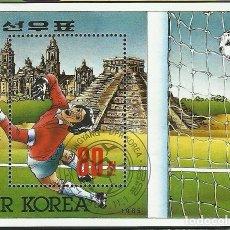 Sellos: COREA 1986 HOJA BLOQUE SELLOS MUNDIAL DE FUTBOL MEXICO 86 - FIFA. Lote 277055468