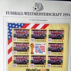 Sellos: ST VINCENT & GRENADINES 1994 HOJA BLOQUE SELLOS COPA MUNDIAL DE FUTBOL EEUU USA 94 - FIFA NORUEGA. Lote 277230328