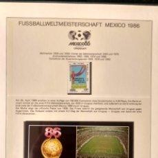 Sellos: URUGUAY 1986 SELLO Y POSTAL CONMEMORATIVA COPA MUNDIAL DE FUTBOL MEXICO 86 FIFA. Lote 277474688