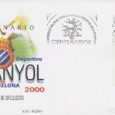 Sellos: EDIFIL 3705, CENTENARIO DEL CLUB DE FUTBOL ESPAÑOL DE BARCELONA, PRIMER DIA DE 28-4-2000 SFC. Lote 277820728