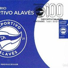Sellos: CENTENARIO DEL CLUB DE FUTBOL, DEPORTIVO ALAVÉS, PRIMER DIA DE 25-1-2021. Lote 279579063