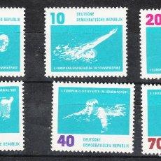 Sellos: SELLOS DE ALEMANIA ORIENTAL (DDR). YVERT 620/5. SERIE COMPLETA NUEVA SIN CHARNELA. DEPORTES.NATACIÓN. Lote 288533328