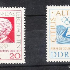 Sellos: DDR. 646/47 CENTENARIO NACIMENTO DE PIERRE DE COUBERTIN. 1963 **. Lote 288544108