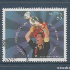 Sellos: SELLO USADO DE AUSTRIA -IKER CASILLAS-, TEMA FÚTBOL, AÑO 2008. Lote 290078903
