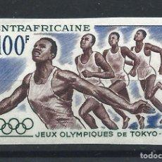 """Sellos: CENTRAFRIQUE PA N°24** (MNH) 1964 - J.O DE TOKYO """"COURSE À PIED"""" - N.DENTELÉ. Lote 296557988"""