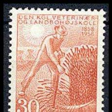 Selos: DINAMARCA 1958. CENTENARIO DEL REAL COLEGIO DE AGRICULTURA Y VETERINARIO. Lote 3870996