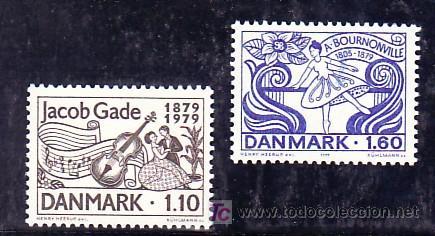 DINAMARCA 696/7 SIN CHARNELA, MUSICA, CENTENARIO COMPOSITOR JACOB GADE Y MAESTRO BALLET AGUSTO BOUR (Sellos - Extranjero - Europa - Dinamarca)