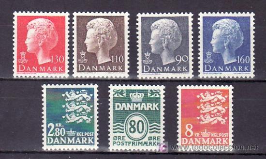 DINAMARCA 680/6 SIN CHARNELA, MONARQUIA, ESCUDO, REINA MARGARITA II, SERIE BASICA, (Sellos - Extranjero - Europa - Dinamarca)
