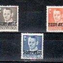 Sellos: DINAMARCA 332/3A (3 VALORES) CON CHARNELA, MONARQUIA, REY FREDERIC IX, SOBRECARGADO,. Lote 10815732