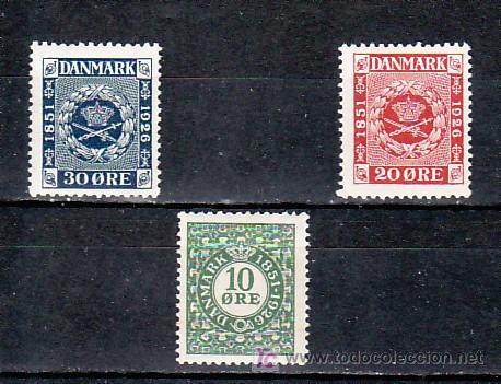 DINAMARCA 165/7 CON CHARNELA, 75º ANIVERSARIO DEL SELLO, (Sellos - Extranjero - Europa - Dinamarca)