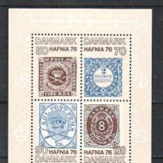 Sellos: DINAMARCA HB 3 SIN CHARNELA, HAFNIA 76 EXPOSICION FILATELICA MUNDIAL EN COPENHAGUE. Lote 8324800