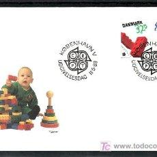 Sellos: DINAMARCA 953/4 PRIMER DIA, TEMA EUROPA 1989, JUEGOS INFANTILES, . Lote 10815721