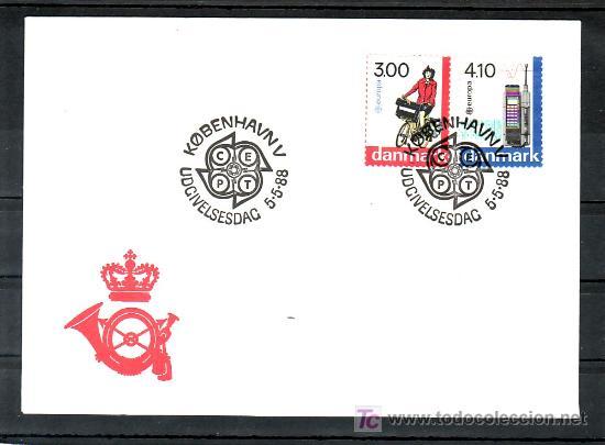 DINAMARCA 924/5 PRIMER DIA, TEMA EUROPA 1988, TRANSPORTE Y COMUNICACIONES, DEPORTE, TELEFONO, (Sellos - Extranjero - Europa - Dinamarca)