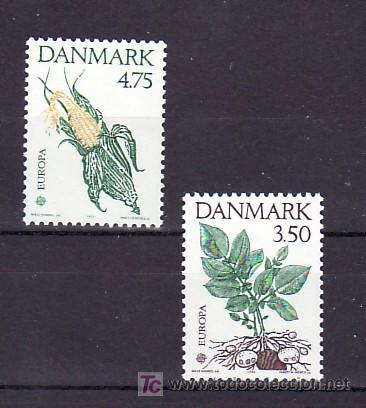 DINAMARCA 1028/9 SIN CHARNELA, TEMA EUROPA 1992, V CENTº DESCUBRIMIENTO AMERICA, FLORES, (Sellos - Extranjero - Europa - Dinamarca)