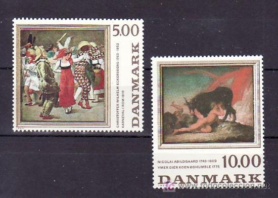 DINAMARCA 822/3 SIN CHARNELA, PINTURA, CARNAVAL EN ROMA, MITOLOGIA ESCANDINAVA, (Sellos - Extranjero - Europa - Dinamarca)