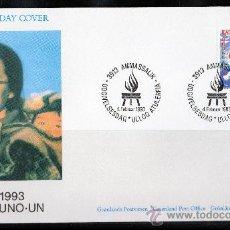 Sellos: GROENLANDIA AÑO 1993 SPD YV 218 POBLACIÓN NACIONES UNIDAS ESCUDOS BANDERAS POLAR. Lote 17714629