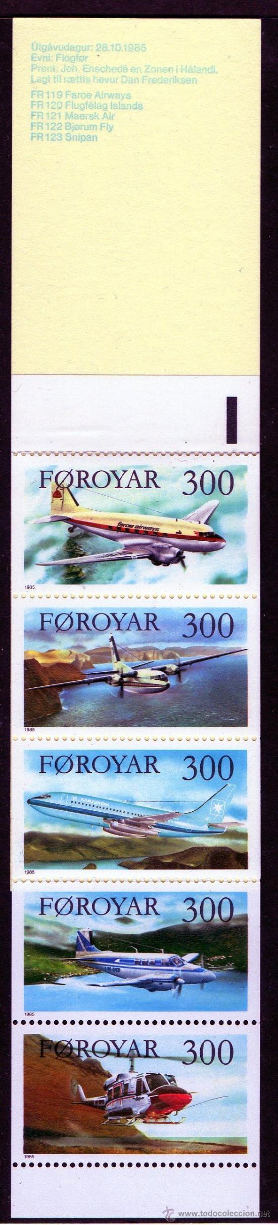 FEROE AÑO 1985 YV C 119*** CARNET - AVIONES - TRANSPORTES (Sellos - Extranjero - Europa - Dinamarca)