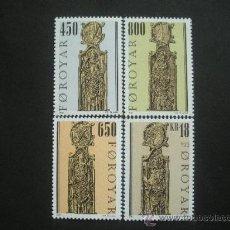 Sellos: FEROE 2001 IVERT 385/8 *** BANCOS DE LA IGLESIA DE KIRKJUBO (III) - ESCULTURA Y RELIGIÓN. Lote 30088538