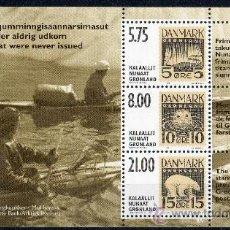 Sellos: GROENLANDIA AÑO 2001 YV HB 21*** EXPOSICIÓN DE FILATELIA HAFNIA'01 SELLO SOBRE SELLO POLAR SLANIA. Lote 36104722