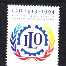 Sellos: DINAMARCA 1088** - AÑO 1994 - 75º ANIVERSARIO DE LA ORGANIZACION INTERNACIONAL DEL TRABAJO. Lote 45791194