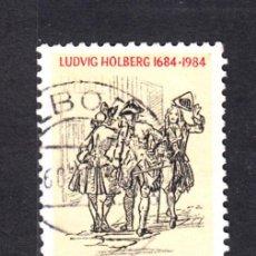 Sellos: DINAMARCA 820 - AÑO 1984 - 300º ANIVERSARIO DEL NACIMIENTO DEL ESCRITOR LUDWIG HOLBERG. Lote 49405274