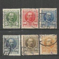 Sellos: DINAMARCA 1907-12 YVERT NUM. 55/61 SERIE COMPLETA USADA. Lote 53527031