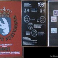 Sellos: GROENLANDIA ANUARIO 1981 - INCLUYE SELLOS - FAUNA OSO POLAR- PECES- RENO- TRINEO- REINA MARGARITA . Lote 55135500