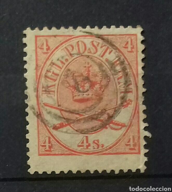 SELLO DE DINAMARCA EMBLEMA REAL 1864-1868 (Sellos - Extranjero - Europa - Dinamarca)