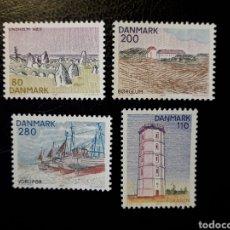 Sellos: DINAMARCA. YVERT 707/10 SERIE COMPLETA NUEVA SIN CHARNELA. PAISAJES DE JUTLANDIA DEL NORTE. FARO. Lote 147558301