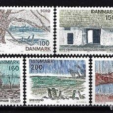 Sellos: 1981 DINAMARCA YVERT YV 735/739 MNH** NUEVOS SIN CHARNELA - PAISAJES DE LA ISLA. Lote 150791774