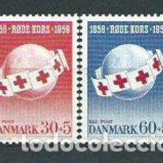 Sellos: DINAMARCA - CORREO 1959 YVERT 383/84 * MH CRUZ ROJA. Lote 162939505