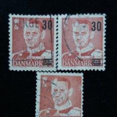 Sellos: 3 SELLO, DINAMARCA ,30, REY FREDERIK IX. AÑO 1959. SOBREESCRITO.. Lote 169336004