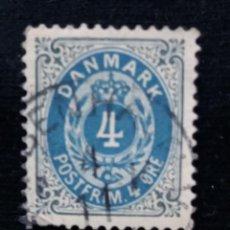 Sellos: SELLO, DINAMARCA, 4 ORE POSTFRIM, AÑO 1875.. Lote 169599176