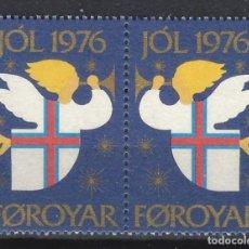 Selos: ISLAS FAROE 1976 - VIÑETAS NUEVAS EN PAREJA, SIN GOMA. Lote 170373230