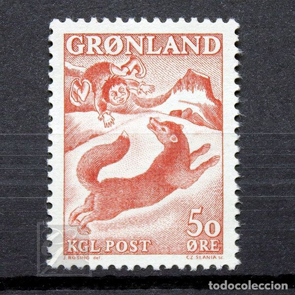 GROENLANDIA 1966 ~ SAGAS (III) ~ SELLO NUEVO MNH LUJO (Sellos - Extranjero - Europa - Dinamarca)