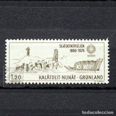 Sellos: GROENLANDIA 1975 ~ TRINEO PATRULLA SIRIUS ~ SELLO NUEVO MNH LUJO. Lote 182602951