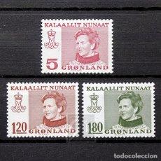 Sellos: GROENLANDIA 1978 ~ SERIE BÁSICA: REINA MARGARITA II ~ SERIE NUEVA MNH LUJO. Lote 182605846