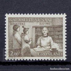 Sellos: GROENLANDIA 1980 ~ BIBLIOTECAS PÚBLICAS ~ SELLO NUEVO MNH LUJO. Lote 182611093