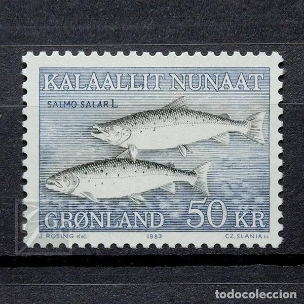 GROENLANDIA 1983 ~ FAUNA MARINA: SALMO SALAR ~ SELLO NUEVO MNH LUJO (Sellos - Extranjero - Europa - Dinamarca)